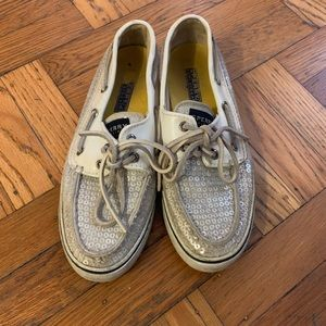 Sperry Top Sider White Sequin Shoes